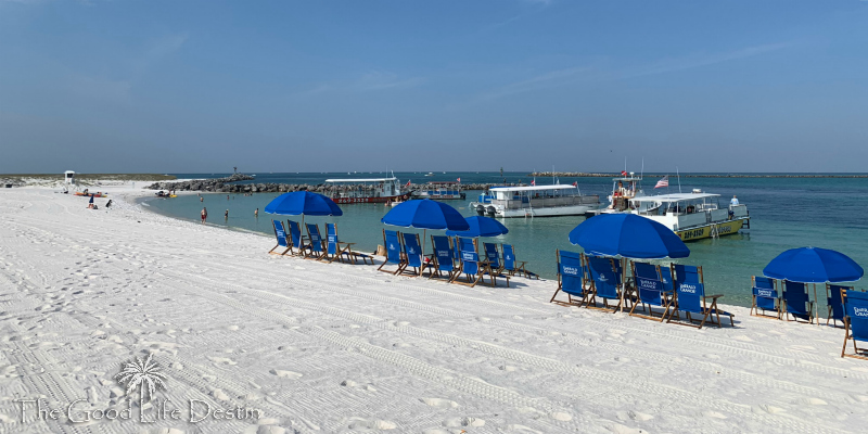 Emerald Grande Beach Chairs Set Up at the Destin Jetties